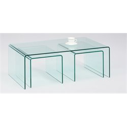 Chintaly 3 Piece Coffee Table Set in Clear Glass
