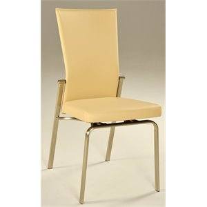 Chintaly Dining Chair in Brushed Nickel and Beige