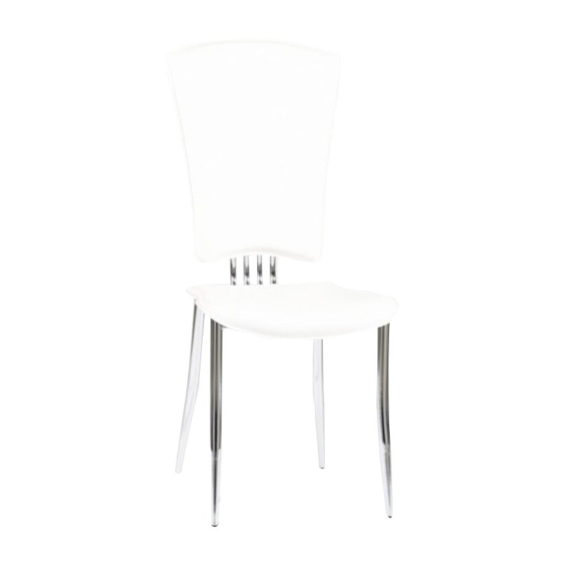 Chintaly Tracy Modern  Dining Chair in White and Chrome