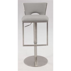 Chintaly Pneumatic Low Back Upholstered Bar Stool in Gray