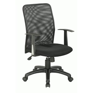 Chintaly Pneumatic Upholstered Back Office Chair in Black