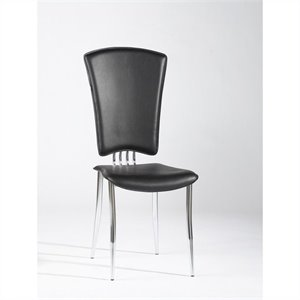 Chintaly Grand Modern  Dining Chair in Black and Chrome