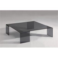 Chintaly Square Bent Coffee Table in Smoke Glass