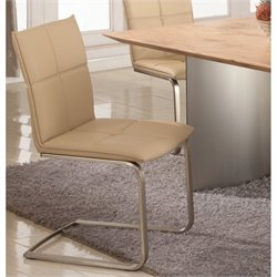 Chintaly Jessica Upholstered  Dining Chair in Khaki and Brushed Nickel