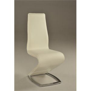 Chintaly Z Style Dining Chair with Chrome Leg in White