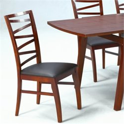 Chintaly Cheri Solid Oak Side Chair in Brown and Dark Oak