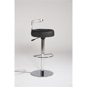 Chintaly Pneumatic Bonded Leather Swivel Counter Stool in Black