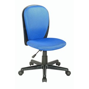 Chintaly Fabric Back and Seat Desk Chair in Blue Cloth Mesh