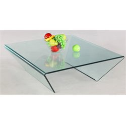 Chintaly Square Bent Coffee Table in Clear Glass