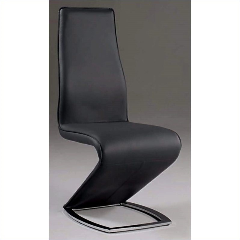 Chintaly Tara Stationary  Dining Chair in Black and Chrome