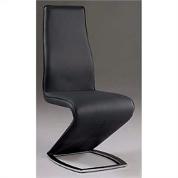 Chintaly Tara Stationary Side Chair in Black and Chrome