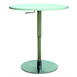 Chintaly Pneumatic Bar Table in White and Stainless Steel