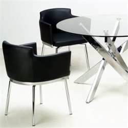 Chintaly Dusty Club Style Swivel Arm Chair in Black and Chrome