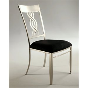 Chintaly Dining Chair in Nickel Plate and Black Microfiber