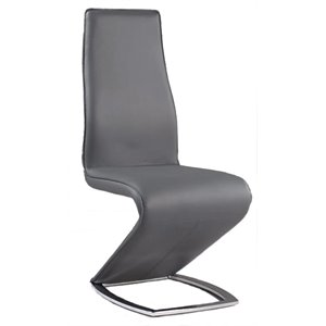 Chintaly Z Style Dining Chair with Chrome Leg in Gray