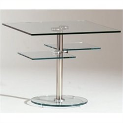 Chintaly Square Lamp Table in Clear and Chrome