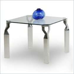 Chintaly Soraya Square Lamp Table in Clear and Chrome