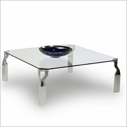 Chintaly Soraya Square Cocktail Table in Clear and Chrome