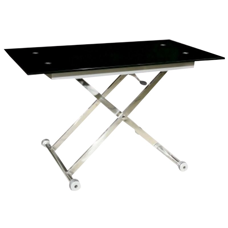 Chintaly sherry cocktail table with rectangle top in black and chrome sherry ct b t kit Black and chrome coffee table