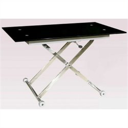 Chintaly Sherry Cocktail Table with Rectangle Top in Black and Chrome