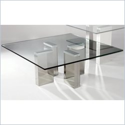 Chintaly Sabrina Glass Cocktail Table in Stainless Steel