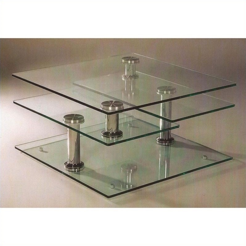 Chintaly Motion Cocktail Table with Glass Tops in Chrome