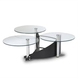 Chintaly Glass Cocktail Table in Black and Chrome