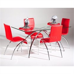 Chintaly Elaine Glass Dining Table in Chrome