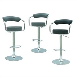 Chintaly Pneumatic Adjustable Gas Lift Bar Stool Set in Black and Gray
