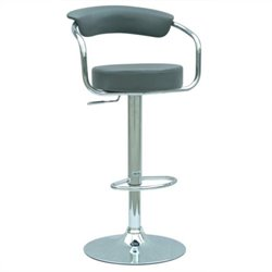 Chintaly Furniture Pneumatic Adjustable Gas Lift Bar Stool in Grey and Chrome