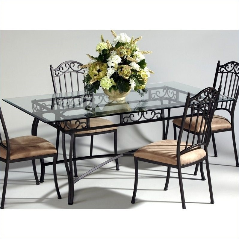 Chintaly Rectangular Glass Top Wrought Iron Dining Table in Antique ...