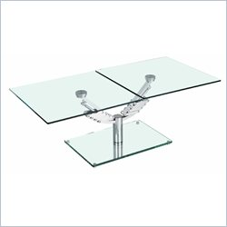 Chintaly Motion Rectangle Glass Cocktail Table in Clear and Chrome