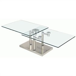 Chintaly Rectangular Clear Glass Cocktail Table in Stainless Steel