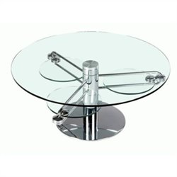 Chintaly Round Cocktail Table w/ Retractable Glass Top in Chrome