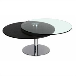 Chintaly Glass and Wood Motion Top Cocktail Table in Ash and Chrome