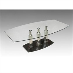 Chintaly Cilla Tempered Glass Cocktail Table in Stainless Steel