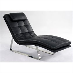 Chintaly Corvette Leather Chaise Lounge in Black