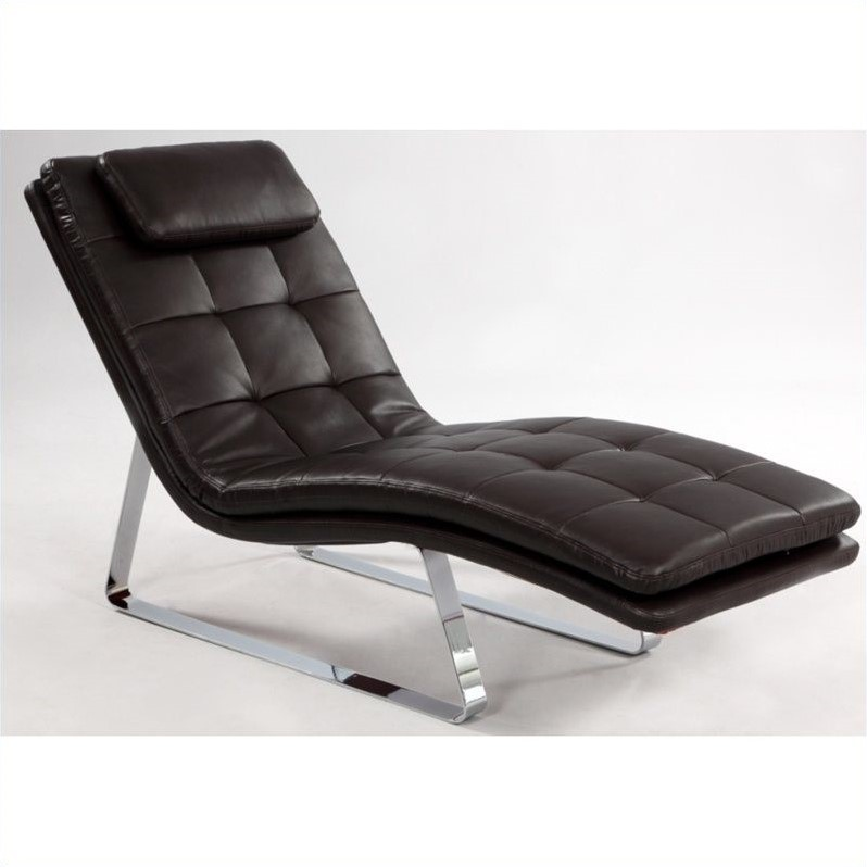 Chintaly Corvette Leather Chaise Lounge in Brown