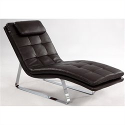 Chintaly Corvette Bonded Leather Chaise Lounge in Brown