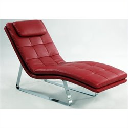Chintaly Corvette Bonded Leather Chaise Lounge with Chrome Legs in Red