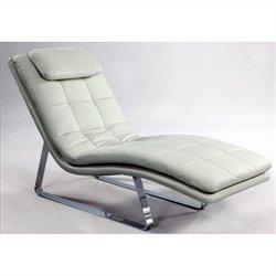 Chintaly Corvette Bonded Leather Chaise Lounge in White