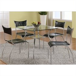 Chintaly Daisy 5 Piece Square Glass Top Dining Set
