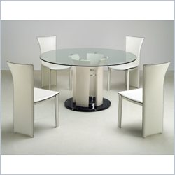 Chintaly Deborah 5 Piece Round Metal Glass Top Dining Set
