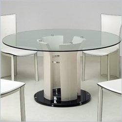 Chintaly Deborah Round Glass Top Dining Table in Beige and Chrome