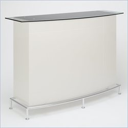 Chintaly Deborah High Gloss Home Bar with Glass Top in Black and Beige