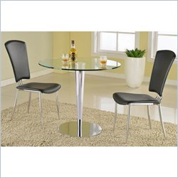 Chintaly Grand 3 Piece Round Glass Top Dining Set