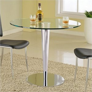 Chintaly Grand Round Glass Top Dining Table in Clear and Chrome