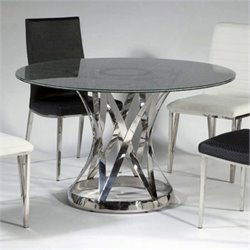 Chintaly Janet Marble Top Dining Table in Lacquer and Stainless Steel