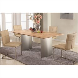 Chintaly Jessica 5 Piece Stainless Steel Dining Set with Wood Top