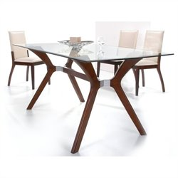 Chintaly Luisa Rectangular Glass Top Dining Table in Dark Walnut